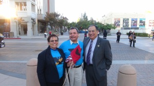 LULAC Council 3190 President and now California State Treasurer standing next to two original members of the Farmworkers Union