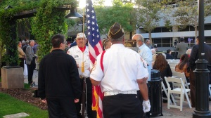 The color guard from Riverside's Casa Blanca getting ready to hoist the colors.