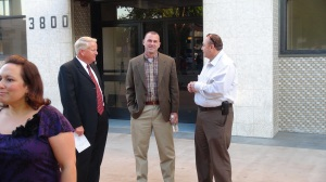 Riverside's New Mayor Rusty Bailey along with Councilman Chris Mac Arthur await the groundbreaking.