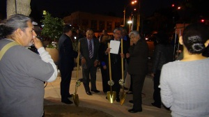 As darkness falls on a Riverside late fall night the groundbreaking for Cesar Chavez begins.